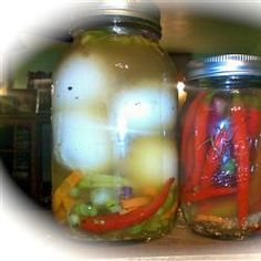 Emily's Pickled Eggs Recipe [KC: UPDATE... 2 weeks in... very nice but I prefer my memories of my mother's plain vinegar & water pickled eggs. I will do a batch of those next & not bother w the pickling spices. Note though the ONIONS in the jar are AMAZING. Fantastic in a salad or on a cheese sandwich.]