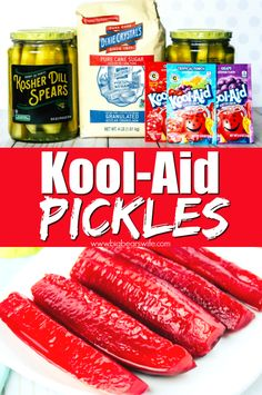 Kool-Aid Pickles - Ready for a great sweet and tangy treat to make the kids this summer? These Kool-aid pickles are fun to make and just as fun to eat! Kool Aid Pickles Recipe, Koolaid Pickles, Crispy Pickles Recipe, Baked Pickles, Sour Pickles, Sweet Pickles, Mexican Snacks, Mexican Candy, Pickle Vodka