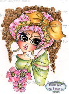 INSTANT DOWNLOAD Digital Digi Stamps Big Eye Big Head Dolls Bestie New Bestie  Img616 My Besties By Sherri Baldy