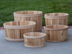 Buy cedar outdoor planter boxes and wooden garden planters online in just minutes. Wood tub planters up to 22 inch diameter made from raw, unfinished cedar.