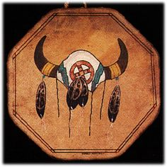 Hand painted Limited Edition MEDICINE WHEEL SKULL drum, Native American