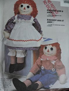 Raggedy Ann & Andy Doll and Clothes Vintage 1988 McCall's 3998 Craft Dolls Sewing Pattern Doll Sewing Patterns, Costume Patterns, Craft Patterns, Cool Patterns, Vintage Patterns, Raggedy Ann And Andy, Toddler Halloween Costumes, Kids Apron, Soft Dolls