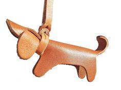Lederen sleutelhanger handgemaakte hond Keyring door LeatherStrata