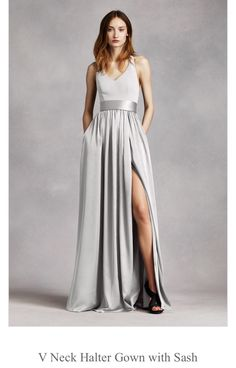 David's Bridal V-Neck Bridesmaid Gown in Sterling