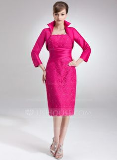 Sheath Square Neckline Knee-Length Taffeta Lace Mother of the Bride Dress With Ruffle Beading (008006172) - JJsHouse 145.00