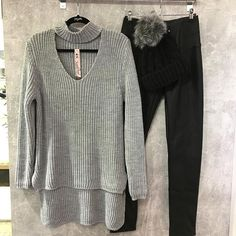 Cosy choker jumper available in grey and black . One size £19.99 . Available instore and online . Link in bio X