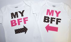 Set of Twins, Best Friends Forever shirts/onesies. $32.00, via Etsy. The girls need these! @Caitlin Burton Carden