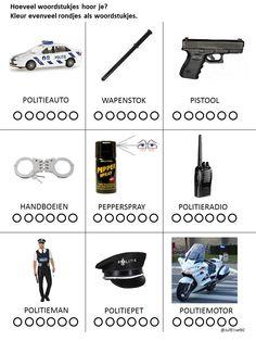 Thema Politie/Verkeer. Woordstukjes. Police Activities, School Themes, Ambulance, Superhero, Kids, Police Party, Game Ideas, Superheroes, Young Children