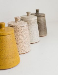 Alexandria Cummings Speckled Sugar Jar + Lid — SUNDAY SHOP - nice for housewarming gift…love these natural colors and the speckled texture. Ceramic Jars, Stoneware Clay, Ceramic Pottery, Slab Pottery, Ceramic Decor, Ceramic Design, Sugar Jar, Clay Bowl, Alphabet Design