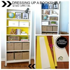 genuis! Add a pop of color to your bookshelves without the commitment of paint. LOVE THIS!