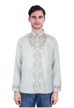 Pria > Baju Muslim > Baju Koko > LGS - Regular Fit - Baju koko - Lengan Panjang - Motif Bordir - Hijau > LGS