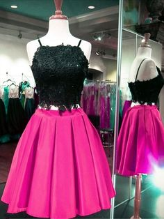 Two Piece Homecoming Dresses Fuchsia, Short Prom Dresses For Teens, A-line Sweet 16 Dresses Elegant, Classy Cocktail Party Dresses Satin Formal Dresses For Teens, Dresses Short, Ball Dresses, Prom Dresses, Sexy Dresses, Evening Dresses, Dress For You, Vintage Homecoming Dresses, Graduation Dresses