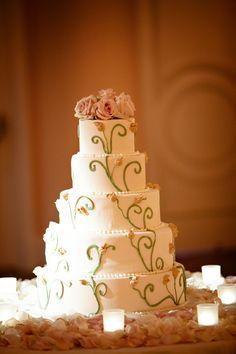 Rosebud themed wedding cake  www.mikiandsonja.com