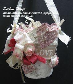 Stampin' on the Prairie: Valentine Basket with Artisan Embellishments Kit Valentine Wreath, Valentine Day Crafts, Vintage Valentines, Valentine Decorations, Holiday Crafts, Valentine Ideas, 3d Paper Crafts, Crafts To Make, Diy Crafts
