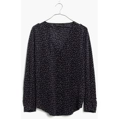 Madewell et Sézane® Silk Murphy Blouse ($138) ❤ liked on Polyvore featuring tops, blouses, charcoal grey, vintage blouse, silk blouses, vintage silk blouse, silk top and button front blouse