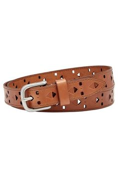 Fossil Diamond Perforated Leather Belt
