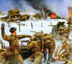 Guerra de Continuación. Ataque finlandés empleando carros T-26 rusos capturados durante la Guerra de Invierno. Invierno de 1941. Más en www.elgrancapitan.org/foro/
