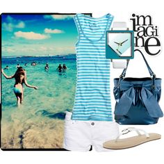 """Blue and white"" by angioletto on Polyvore featuring the Ocean Minded Manhattan Sandal!"