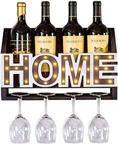 Amazon.com : wall mounted wine rack and glass holder Glass Rack, Glass Holders, Wine Bottle Rack, Wine Racks, Wooden Walls, Wall Mount, Wall Decor, Led, Interior