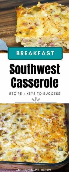 Southwest Ham and Egg Casserole is an easy make-ahead breakfast casserole that we have been baking on repeat. It really brings a lot of flavor to your breakfast table with the green chilies and other spicy seasonings. It's great for feeding a hungry crowd. | Southwestern Ham and Egg Casserole | Southwestern Breakfast Casserole | Southwest Breakfast Casserole with hash browns | Breakfast Casserole with green chiles | hashbrowns | #breakfast #casserole #southwestern #southwest
