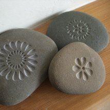 Set of 3 Flower Pebbles from Letterfest