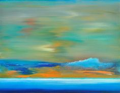 BEACH GIFT ORIGINAL ART PAINTING peaceful seascape waves blue art green zen art #Abstract