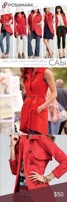 Cabi removable sleeve asymmetric trench coat Versatile Cabi long trench coat in orange red. Can be worn as a long sleeve or remove the sleeves and worn as a short sleeve as seen in model photo. Has attached belt. CAbi Jackets & Coats Trench Coats