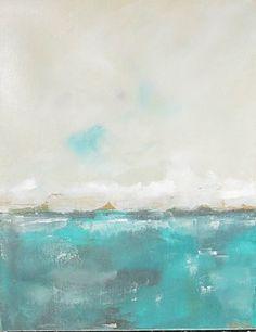 Ocean Seacsape Painting Orignal Art - Lakeview Blue Green 16 x 20.