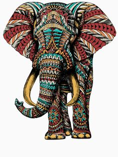 Ornate Elephant By BioWorkZ on Redbubble #elephant #elephants #animals This is an affiliate link and I will be compensated if you make a purchase after clicking on my link.