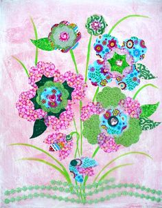 Cute flower wall art and it looks so easy to make. Fabric Canvas Art, Canvas Paper, Canvas Wall Art, Flower Canvas, Flower Wall, Fabric Journals, Home Decor Wall Art, Room Decor, Textile Art