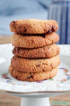 Glutenvrije chocolate chip koekjes | Eat.Pure.Love Gluten Free Flour, Lactose Free, Sweets Recipes, Desserts, Low Fodmap, Low Calorie Recipes, Paleo, Chips, Cookies