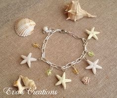 starfish bracelet with glass beads Starfish Bracelet, Summer Is Here, Everyday Items, Summer Jewelry, Bangles, Bracelets, Summer Collection, Glass Beads, Earrings