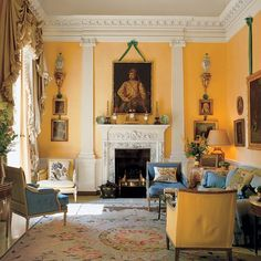 Fowler modeled his 1969 design for the living room of David and Evangeline Bruce's London apartment after a Louis XVI Parisian example. The ruffled draperies, in the elaborate style he was known for, were based on a wedding dress he saw at a museum.