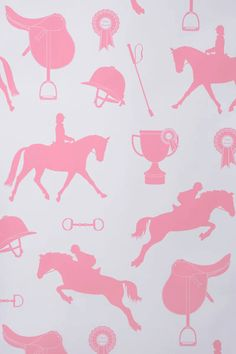 Gymkhana   Hibou Home Wallpapers   Perfect For Horse Mad Little Girls, A  Delightful Motif Designs With Show Jumping Horses, Saddles, Helmets And  Rosettes.