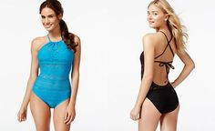 Macy's CityPlace  | Kenneth Cole Reaction Crochet High-Neck One-Piece Swimsuit