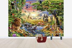 Savannin eläimet juomapaikalla
