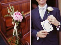 Lavender Farm Tipi Wedding Peony Pew Ends http://www.rebeccaweddingphotography.co.uk/