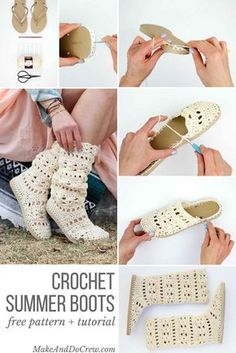 "These lacy, cotton ""Coachella Boots"" will complete your boho-inspired outfits all spring and summer long! Crochet them with flip flop soles!"