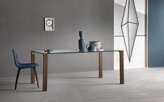 LIVINGSTAND glass dining table, design Giulio Mancini, walnut legs.