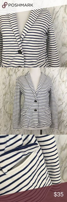 J. Crew Two Button Blazer Navy/white Striped Excellent used condition, used once, Perfect casual or business wear with functional hip pocket. Size S run true to size. No smoking Home 🏡 J. Crew Jackets & Coats Blazers