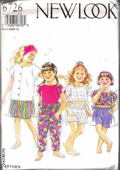 "1990's New Look 6726 Girl's Top or Cropped Top , Trousers or Shorts Sewing Pattern Sizes 3 - 8, Breast 21 1/2"" - 26"" UNCUT by Recycledelic1 on Etsy"