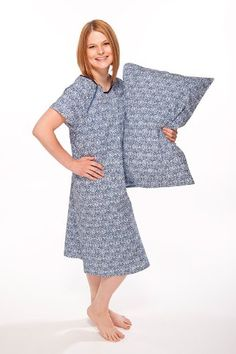 Designer Hospital Gown With Matching Pillowcase.  Beautiful soft pillowcase with European style envelope closure.  High quality Gownie with soft satin trim, with snaps in all the right places.  Deliver in Style and Comfort, great during delivery and baby's 1st pictures.  Hospital approved and appreciated - 100% soft cotton. Pillowcase fits standard size pillow.