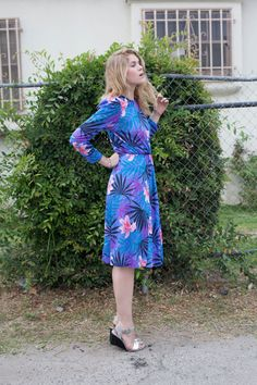 Classic Vintage 80's Floral Pink and Periwinkle Long Sleeve Dress