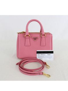 e4914bc1be6cbe Details about Authentic Prada Pink Saffiano Lux Leather Nano Tote Cross  Body Bag BN2842