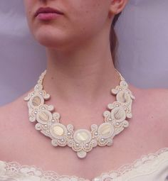 Soutache necklace. Wedding necklace in creams and by MollyGDesigns
