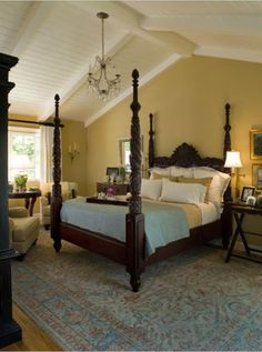 """Traditional Bedroom Master Bedroom """"high Ceiling"""" lovely bedding and a four poster bed Farmhouse Master Bedroom, Home Bedroom, Bedroom Furniture, Bedroom Photos, Bedroom Ceiling, Dream Bedroom, Cathedral Ceiling Bedroom, Paint Ceiling, Calm Bedroom"""
