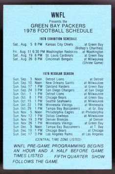 1978 GREEN BAY PACKERS WNFL RADIO 1440 AM FOOTBALL POCKET SCHEDULE FREE SHIP