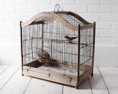 RESERVED  Vintage Birdcage  Large Antique Bird by ZinniaCottage, $125.00