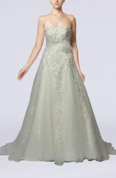 Glamorous Hall A-line Sleeveless Lace up Tulle Court Train Bridal Gowns Plus Size Wedding, Prom Dresses, Wedding Dresses, Sash, Bridal Gowns, Tulle, Lace Up, Glamour, Embellishments