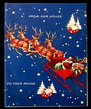 Old Fashioned Santa Sleigh in Night Sky House 2 House Vintage Christmas Card 40s
